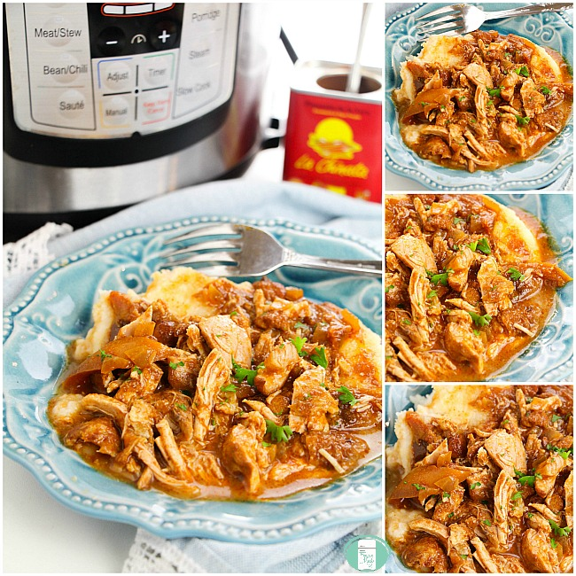 collage of paprikash chicken stew with instant pot
