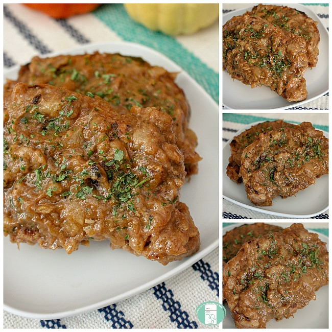 collage of spiced pear pork chops