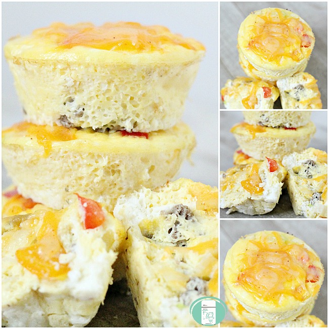 collage of piled up on the go breakfast taco cups