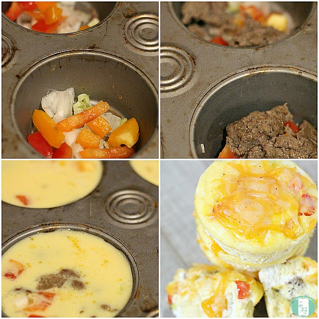 making on the go breakfast taco cups, layering ingredients in the pan