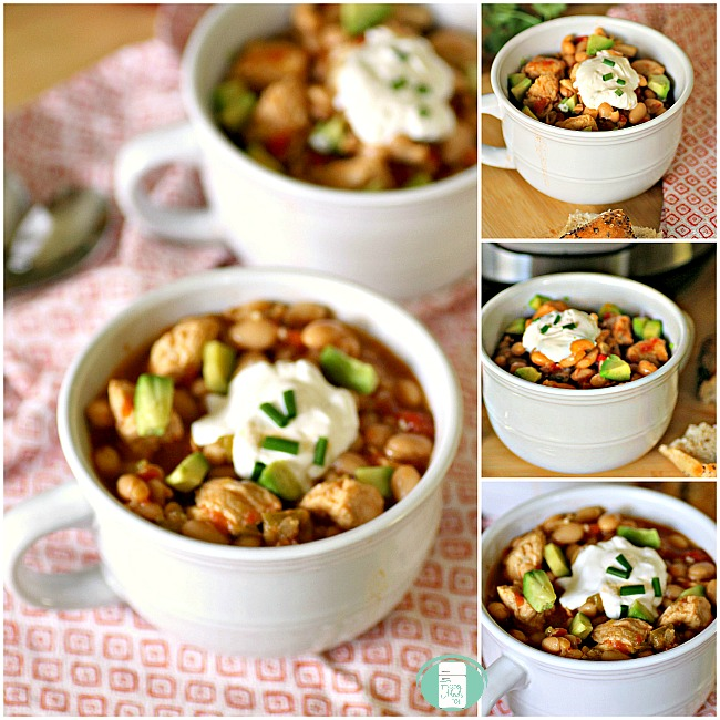 collage of Instant Pot white chicken chili in bowls