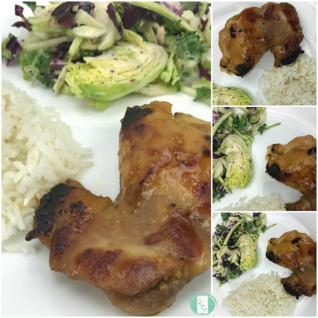 collage of mahjong chicken with sides of salad and rice