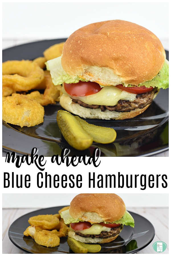 Make Ahead Blue Cheese Hamburgers #freezermeals101 #BBQrecipes #summerrecipes #hamburgers #yum #makeaheadmeals