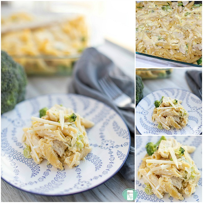 collage of chicken and broccoli Alfredo bake