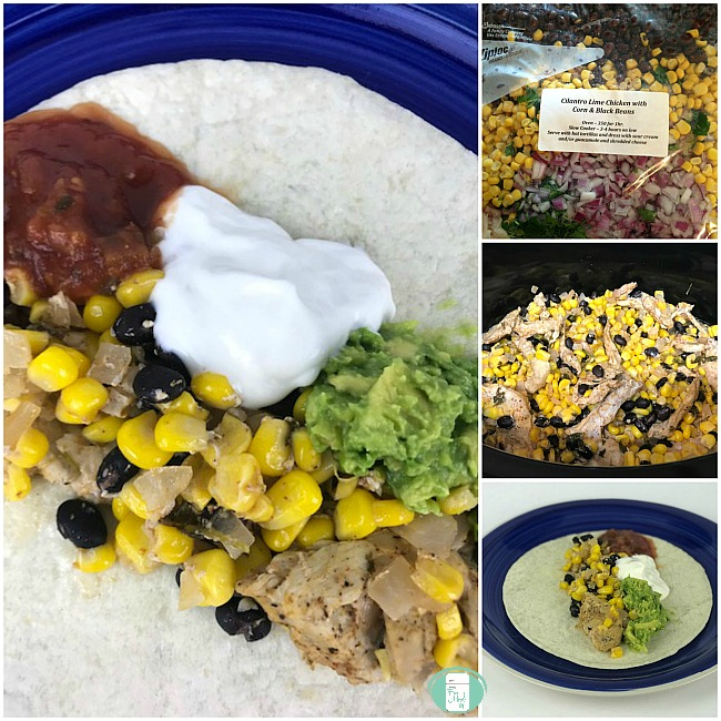 collage of cilantro lime chicken with corn and black beans in the freezer bag, crockpot and on a tortilla