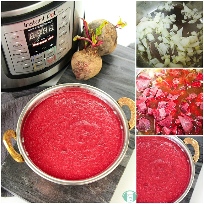collage of steps to make this Instant Pot borscht recipe