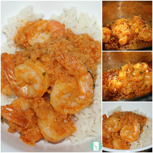 collage of Instant Pot breaded red curry shrimp on rice