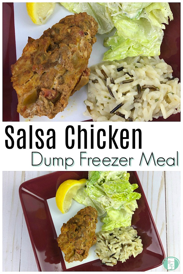 Salsa Chicken Dump Freezer Meal #freezermeals101 #freezercooking #chickendumprecipe #easyfamilymeals