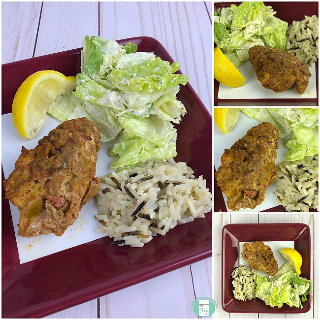 collage of salsa chicken served with Caesar and rice