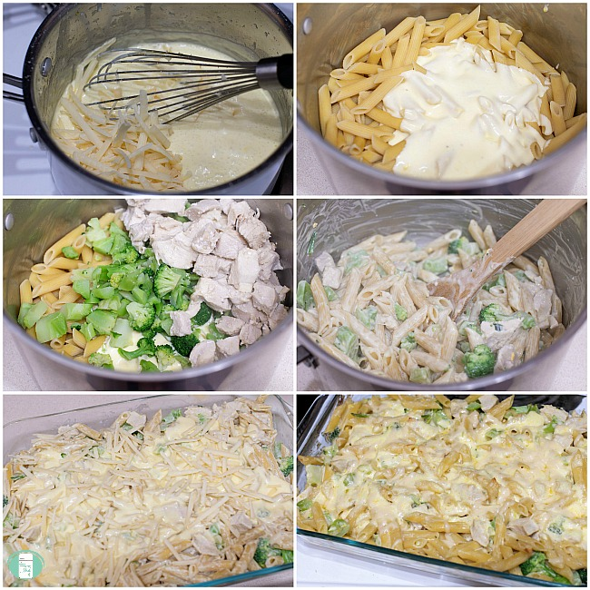 collage of steps to make chicken and broccoli Alfredo bake