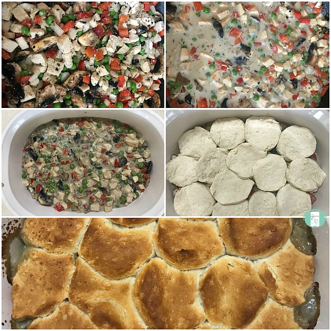 collage of steps to make chicken pot pie filling
