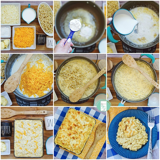 collage of steps to putting together mac and cheese freezer meal and baking it