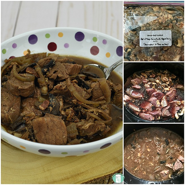 collage of beef and bacon goulash in a freezer bag, in the crock-pot and finished in a bowl