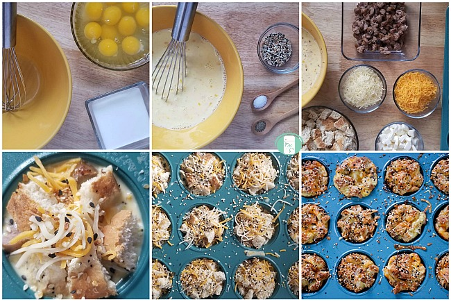 collage of ingredients and making of everything bagel breakfast muffins