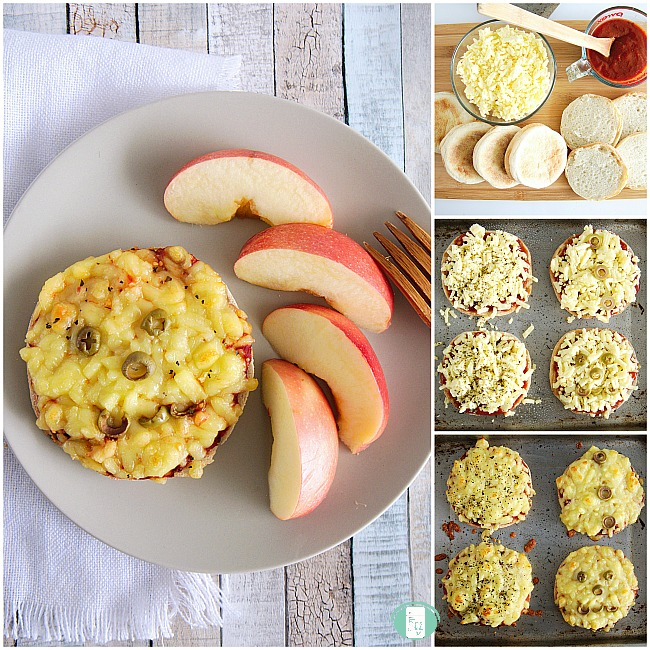 collage of making English muffin pizzas, ingredients, on a baking sheet and on a plate with apples