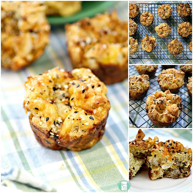 collage of everything bagel breakfast muffins on a cooling rack and served on a cloth napkin