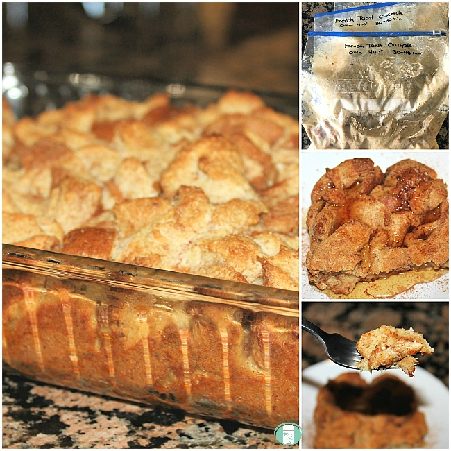 collage of french toast casserole in the freezer bag, in a casserole dish an on a plate