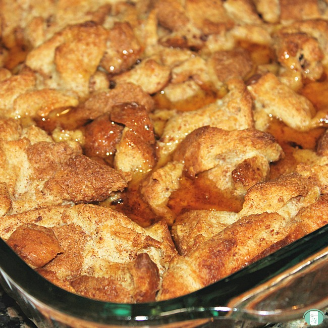 close up of french toast casserole