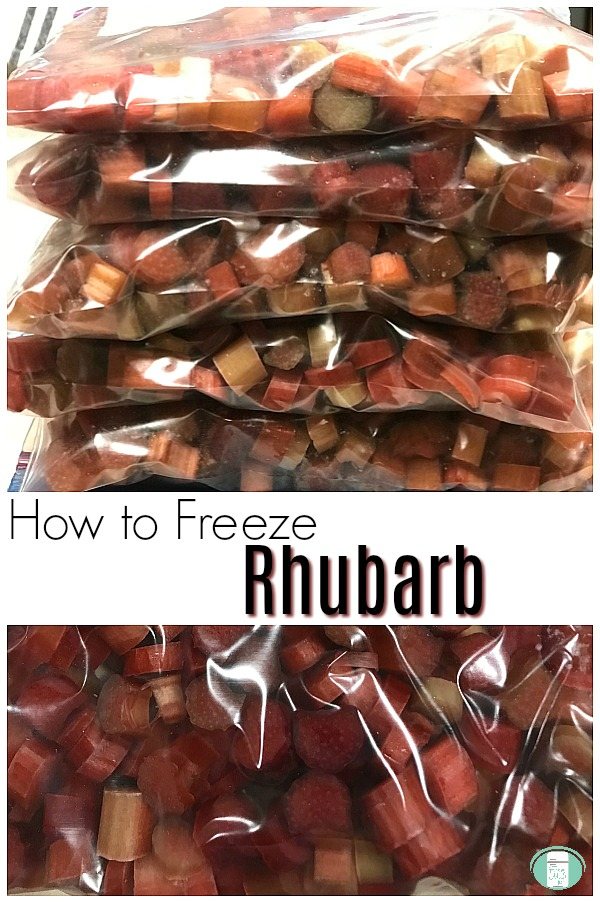 "5 bags of sliced rhubarb are stacked on top of each other at the top and a close up of sliced rhubarb on the bottom with text that reads ""How to Freeze Rhubarb"""