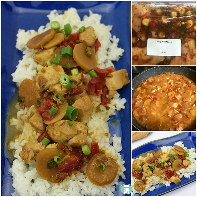 collage of kung pao chicken in a freezer bag, in a slow cooker and on a plate with rice