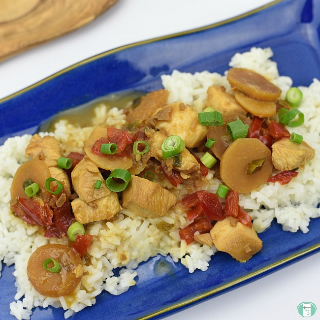 close up of kung pao chicken served on rice