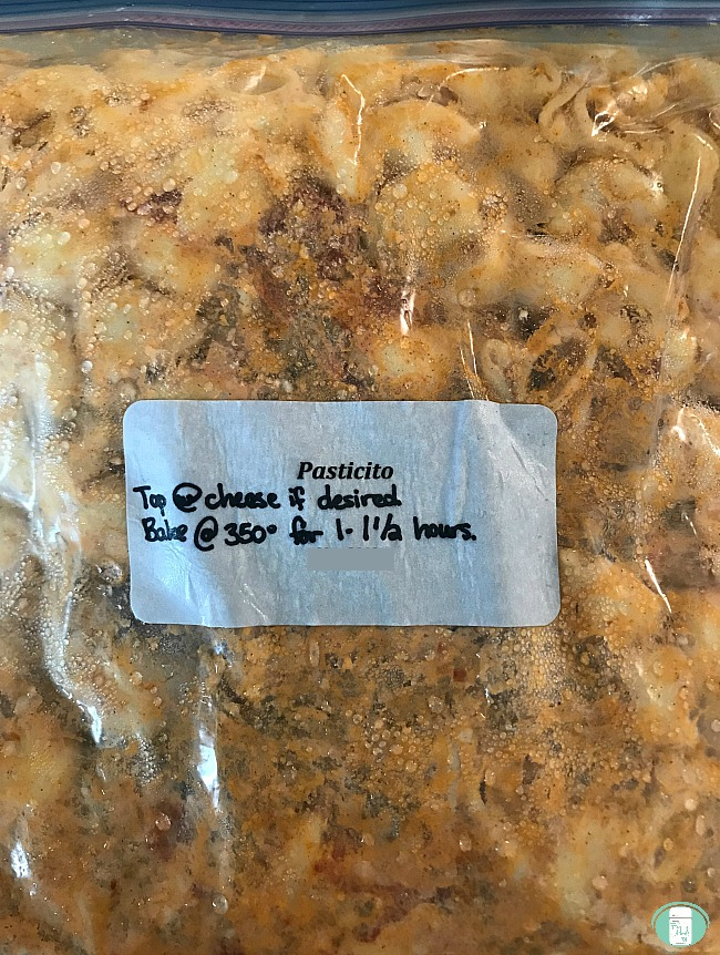 Pastitcio baked pasta in a labeled freezer bag