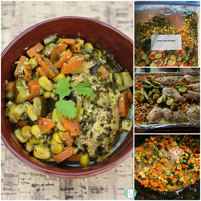 collage of making pesto chicken and vegetables in the freezer bag, on the baking tray and finished in a bowl