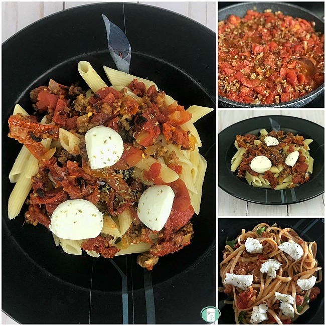 collage of saucy sausage pasta sauce on penne and spaghetti