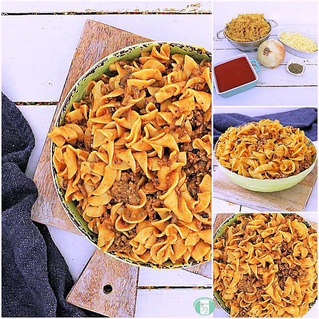 collage of creamy tomato beef skillet ingredients and finished meal in a bowl