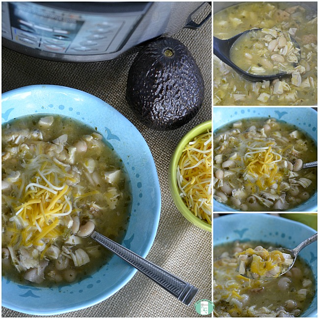 collage of spicy white bean and chicken soup in the Instant Pot and in a bowl with cheese