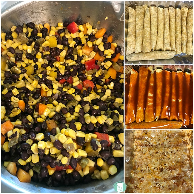 collage of black bean and corn filling and enchiladas with sauce as well as in a pan