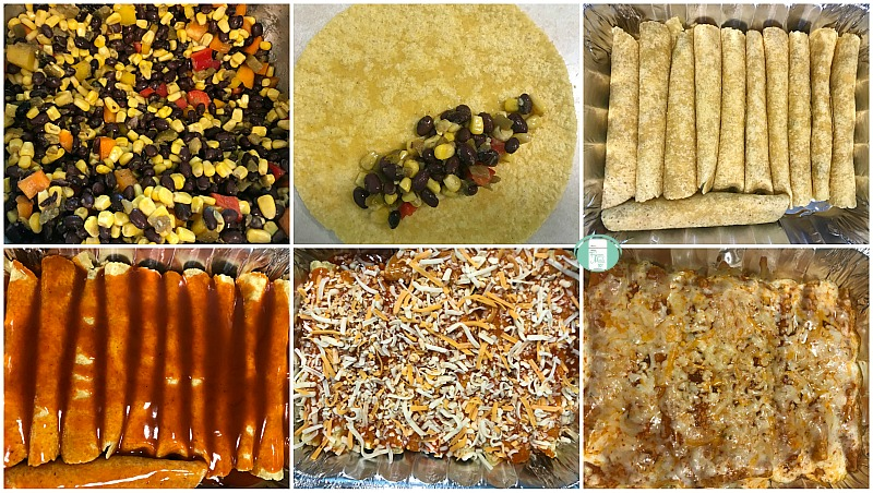 collage of steps to make black bean and corn enchiladas