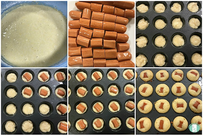 collage of steps to make corn dog mini muffins, ingredients and assembly into the pan