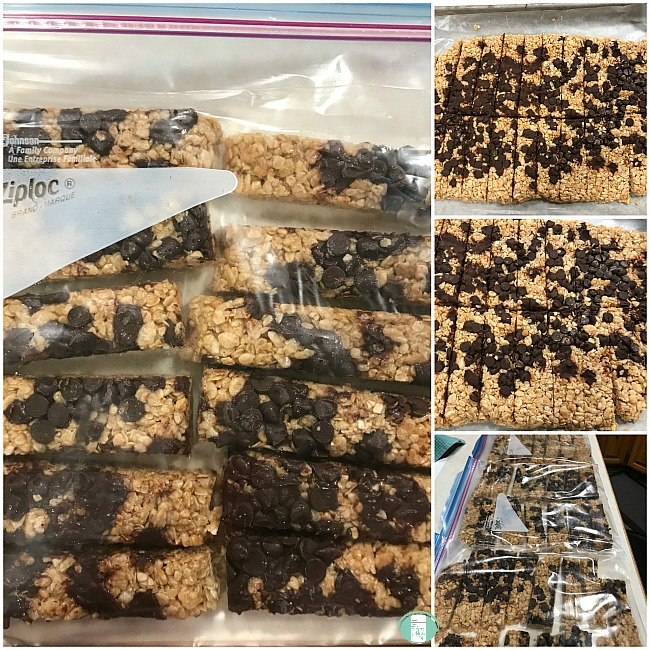 collage of home made granola bars on a rack and in freezer bags