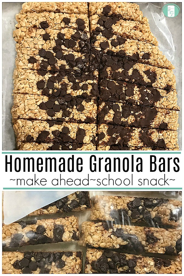 "light brown granola bars with a messy array of chocolate chips sprinkled with text that reads ""Homemade Granola Bars make ahead school snack"""