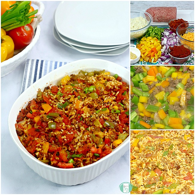 collage of steps to make the stuffed pepper casserole, ingredients, in a freezer bag and in a casserole dish
