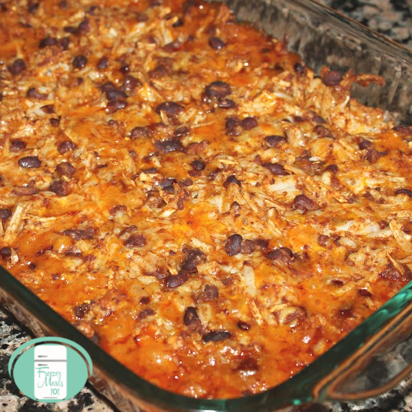 close up of chili hash brown casserole in an oven-safe dish