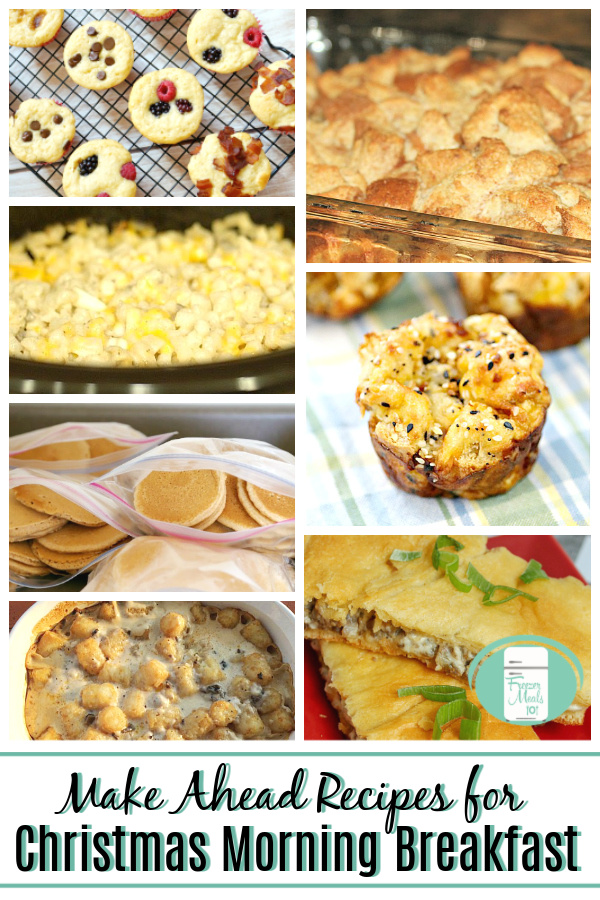 "collage of images pancakes, hash brown casserole, tater tots, bagel muffin with text that reads ""Make Ahead Recipes for Christmas Morning Breakfast"""