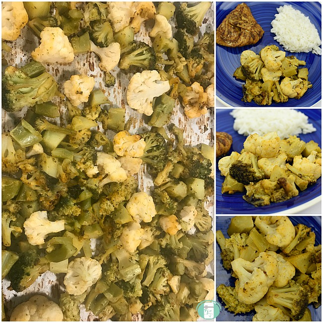 collage of buffalo ranch cauliflower and broccoli side dish on a plate as well as served with meat and rice