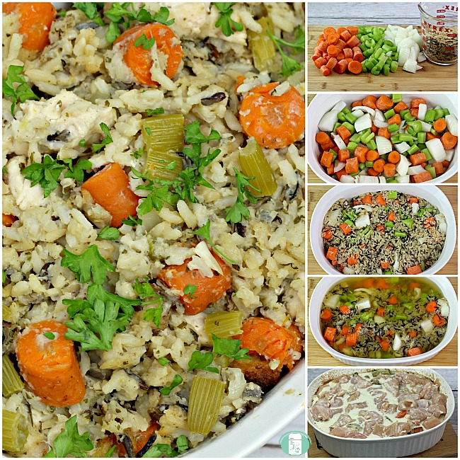 collage of chicken and wild rice casserole ingredients, in the casserole dish and cooked