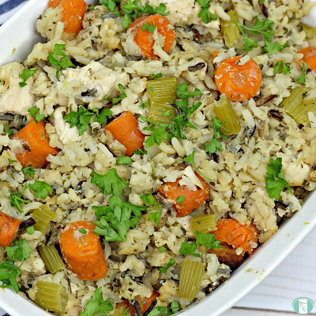 close up of chicken and wild rice casserole with carrots and celery