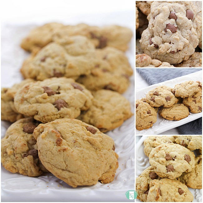 collage of chocolate chip cookies