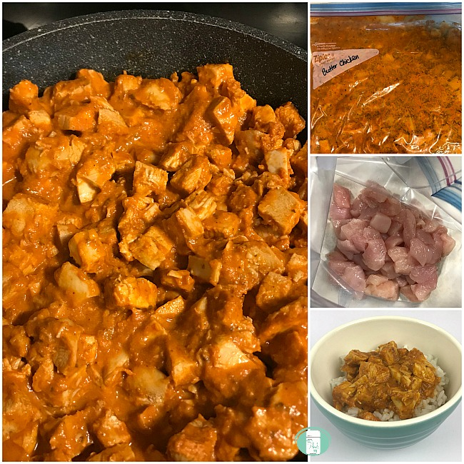 collage of simplest butter chicken in a freezer bag, in a skillet and in a bowl with rice