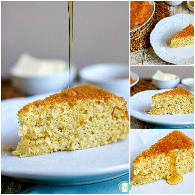 collage of southern cornbread on a plate with jelly at the side and with syrup being poured onto it