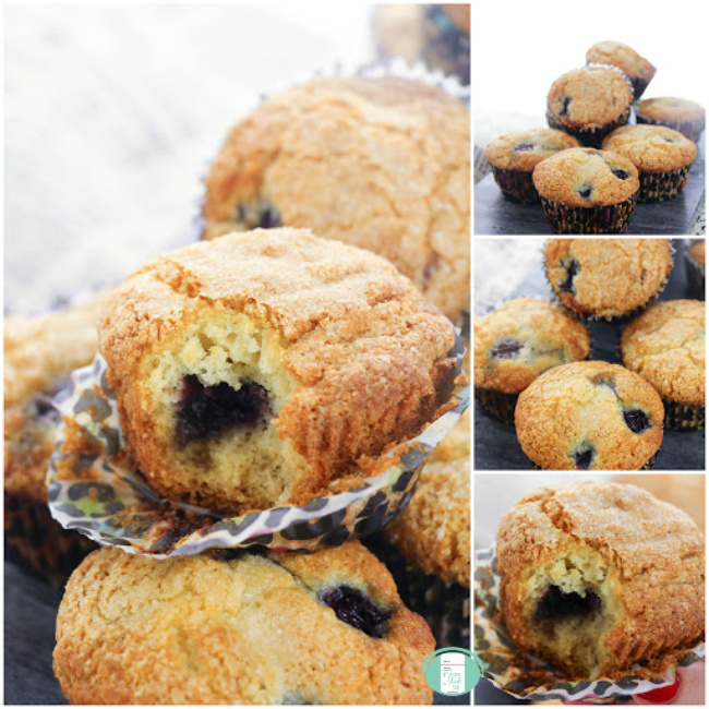 collage of cherry muffins piled up and one with a bite taken out to see the cherry inside