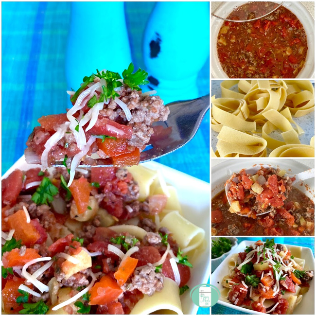collage of ragu with tomatoes, beef and sausage in the slow cooker, in a bowl and being lifted on a fork from a dish with pasta