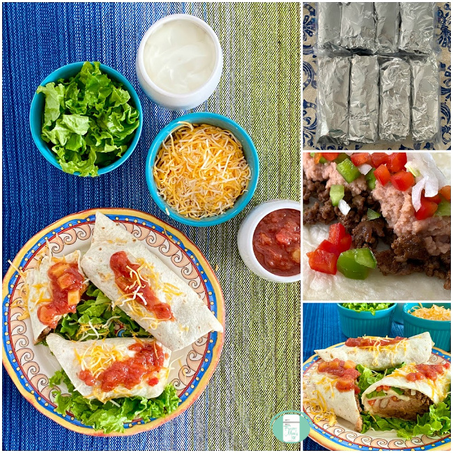 collage of beef and bean burritos in foil and freezer bag, cut and served on a plate and topped with cheese while other fixings sit in bowls at the side like salsa and lettuce