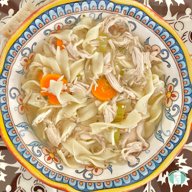 close up of homemade chicken noodle soup