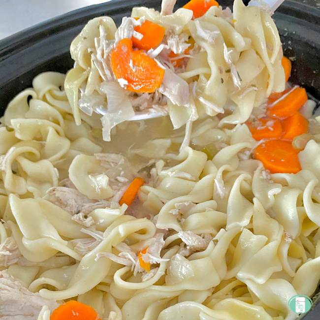 close up of a spoon lifting chicken noodle soup from a crockpot