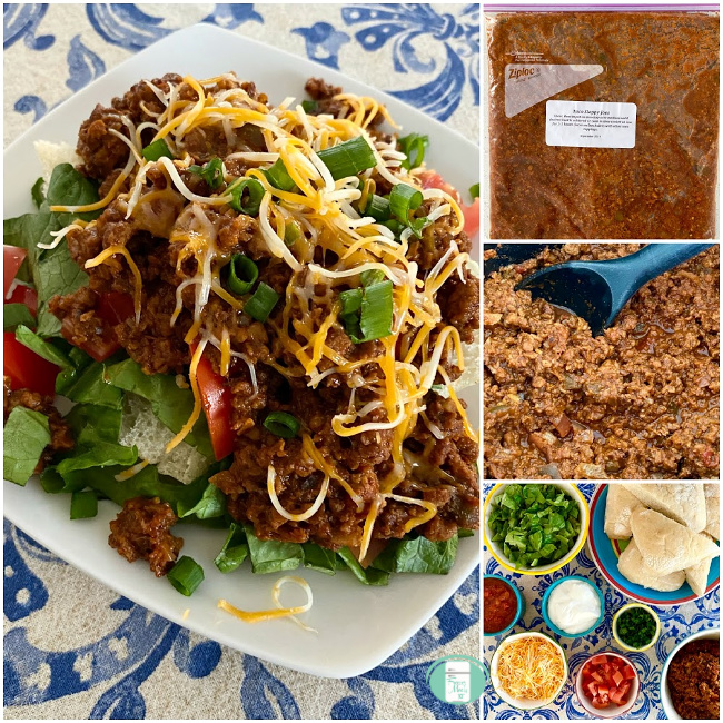 collage of taco sloppy joes in the freezer bag, being cooked, ingredients in bowls and served on a plate